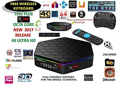 Android Tv Box Fully loaded Jailbroken**NEW RELEASE** T95z PLUS X-treme 8X CPU Marshmellow 6.0 AMLOGIC S912 64BIT 5Ghz Wifi 4K UHD H.265 Kode 16.1 / xbmc 1000m Lan Bluetooth smart tv box Comes with free wireless keyboard OCTA-CORE 16GB airplay full ULTRA
