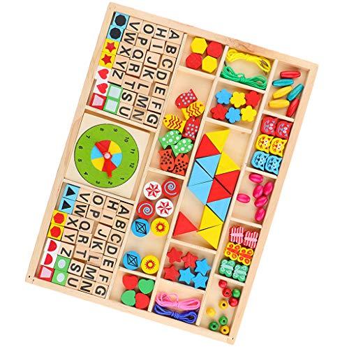 B Blesiya Montessori Tiere Threading Spielzeug Schnürung Puzzle Spiel für Kinder (Holz-threading)