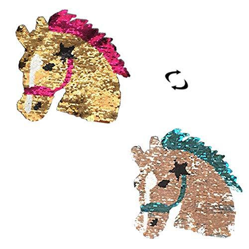 Lumanuby 1x Reversibel Gold Pferd Pailletten Aufnäher Stickerei für Mädchen Damen Pullover Hoody Mantel Jeans T-Shirt Embroidery Patch für Kleidung von Alle Jahreszeiten, Aufnäher Serie