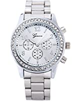 Geneva Crystal Unisex Stainless Steel Quartz Wrist Watch Silver