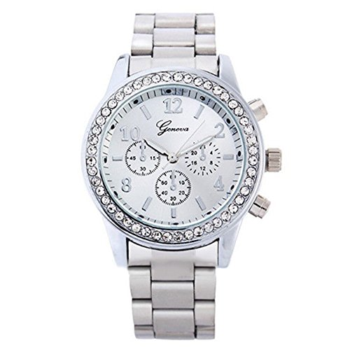 Geneva Crystal Unisex Stainless Steel Quartz Wrist Watch Silver