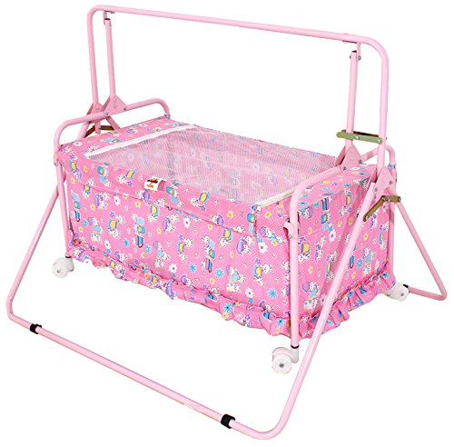 Furncoms 1033 Baby Cradle Bed with Mosquito Net, Pink