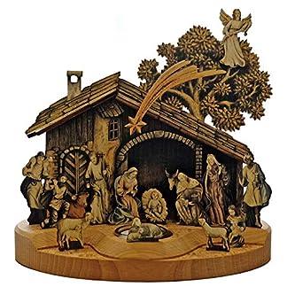 Kaltner Präsente – Belén navideño de Madera con Figuras de Jesús, María y Niño, pastores, ovejas, ángeles y Reyes Magos para Encajar. Incluye Vela de Cristal