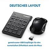 USB pavé numérique/Souris Combo, 2.4G sans fil MINI USB numérique pad clavier et souris pour PC portable de bureau Notebook, avec un interrupteur ON/OFF, seulement un port USB–Noir