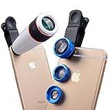 Apexel 4 in 1 fotocamera Lente 12x per teleobiettivo /Blu Obiettivo fisheye / Obiettivo 2 in 1 Macro e grandangolo / per Apple iPhone 6/ 6s, 6 Plus/6s Plus,5/5s Samsung Galaxy S7/S7 Edge, S6/S6 Edge,S5 S4 Note 5 4 3 LG HTC immagine