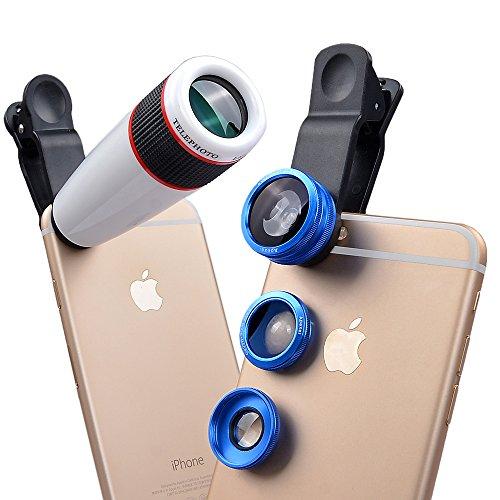 Apexel 4 in 1 fotocamera lente 12x per teleobiettivo /blu obiettivo fisheye / obiettivo 2 in 1 macro e grandangolo / per apple iphone 6/ 6s, 6 plus/6s plus,5/5s samsung galaxy s7/s7 edge, s6/s6 edge,s5 s4 note 5 4 3 lg htc