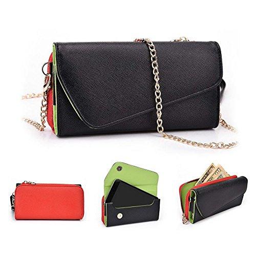 Kroo d'embrayage portefeuille avec dragonne et sangle bandoulière pour Archos 50b Helium 4G Multicolore - Black and Green Multicolore - Noir/rouge