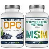 OPC Traubenkernextrakt + MSM organischer Schwefel - 360 + 365 Kapseln - 1000mg OPC + 1600mg MSM Methylusfonylmethan...