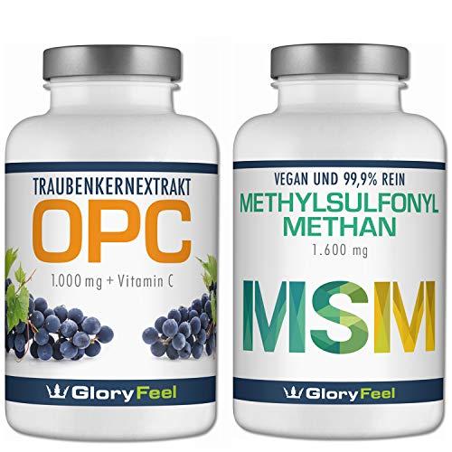 OPC Traubenkernextrakt + MSM organischer Schwefel - 360 + 365 Kapseln - 1000mg OPC + 1600mg MSM Methylusfonylmethan pro Tagesdosis - 6 Monate Voll-Versorgung - Hergestellt in Deutschland -