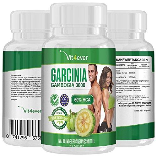 #Garcinia Cambogia 3000, 180 Kapseln 60% HCA, Original Garcinia Cambogia Extrakt, Vegetarische Kapseln, Fatburner, Appetitzügler#