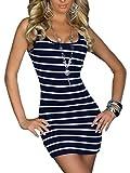 Damen Tank Top Marine Stripes Look Sommer Long Shirt Streifen-Minikleid (174) (L, Blaue Streifen der Marine)