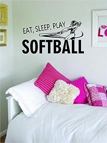 Eat Sleep Play Softball Version 2 Sticker Decal Wall Vinyl