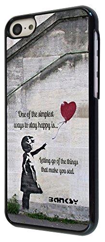 544-Banksy Balloon Girl Funky taux Coque iPhone 5C Design Fashion Trend Case Back Cover Métal et Plastique-Noir