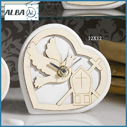 Albalù bomboniere orologio cresima a forma di cuore con colomba e mitra