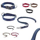 CarlCurt Classic-Line Hundehalsband & Hundeleine im Set, aus strapazierfähigem Nylon, M 35-53cm & M 1,90m, blau