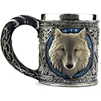 Igemy 3D Wolf König Kopf Muster Becher Retro Harz Edelstahl Kaffee Tee Tasse 15oz (Bronze) preisvergleich bei billige-tabletten.eu