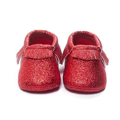Hunpta Baby Kinderbett Fransen Pailletten Schuhe Kleinkind weiche Sohle Turnschuhe Freizeitschuhe (0 ~ 4 Monate, Silber) Rot
