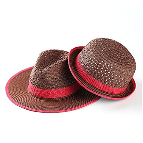 JOOWEN Unisex Couples Straw Bowler Hat Round Top Hollow Out Vintage Summer Hat (07 Soft red)