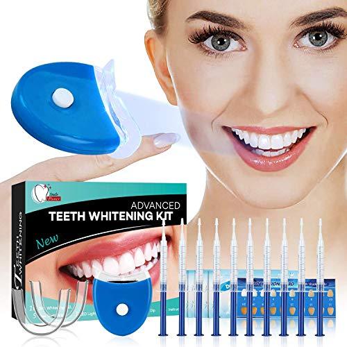 Teeth whitening kit sbiancamento denti professionale per denti bianchi, sbiancante per denti da 15 giorni-10xgel sbiancante denti, 5xpulizia profonda tooth wipe, 2xdentale vassoi gel kit, 1xluce laser