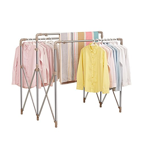 Les vêtements réglables de taille accrochant le support de vêtement de rail réglable vêtements rail blanc-balcon extérieur étagère-L94-160 * W60 * H122-162CM, portant 40 kg