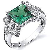 Revoni Prinzessschliff 1.50 Karat Smaragd Ring in Sterling-Silber 925 Rhodium Politur