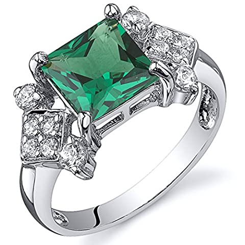Revoni Princess Cut 1.50 carats Emerald Ring in Sterling Silver Rhodium Finish