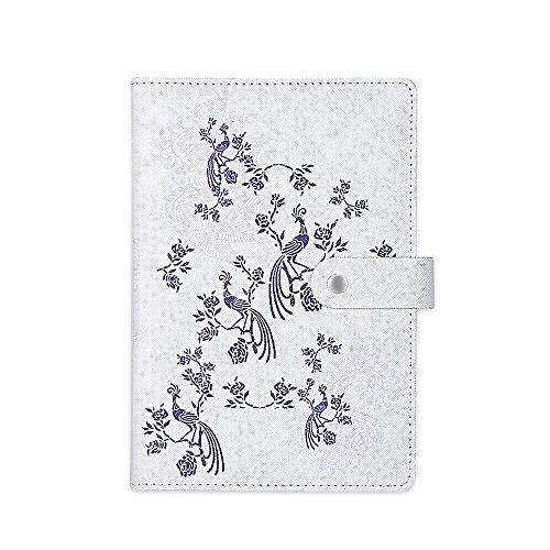 Zhi Jin 1pc Retro Notizbuch Tagebuch Blume Notizblock Tagebuch mit Snap Button 112Blatt liniertes Papier Büro Reise Geschenk Phoenix (Rosa Journal Linierte Seiten)