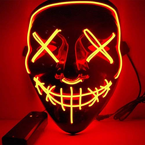 EL Wire Drahtmaske Leuchten Maske LED Leucht Leuchtmaske Make Up Partymaske mit Batterie Box Kostüme Mask Weihnachten Tanzen Party Nacht Pub Bar Klub