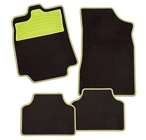 CarFashion 240178 Auto Fussmatten Set ohne Mattenhalter Colori-Textil, Apfelgrün, 4-teilig (Green Coupe Apple)