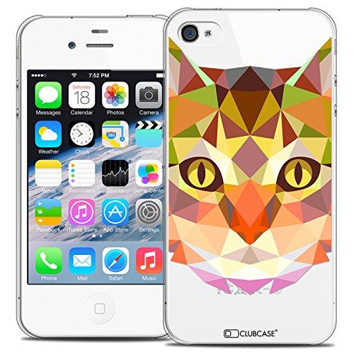 Caseink - Coque Housse Etui pour Apple iPhone 4/4S [Crystal HD Polygon Series Animal - Rigide - Ultra Fin - Imprimé en France] - Chat