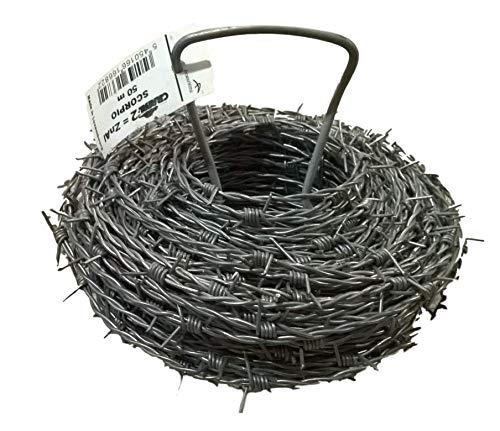 Fil de fer barbelé - 50 m X 1,7 mm - Haute résistance avec revêtement Crapal® 2-440 kg de charge B/