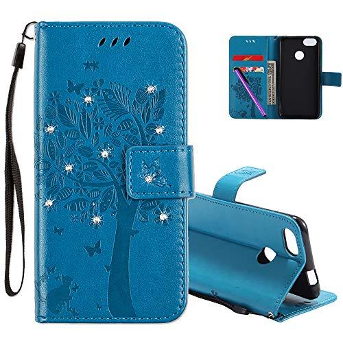 COTDINFOR Huawei P9 Lite Mini Hülle für Mädchen Elegant Retro Premium PU Lederhülle Handy Tasche Magnet Schutz Etui für Huawei P9 Lite Mini / Y6 pro 2017 / Enjoy 7 Blue Wishing Tree with Diamond KT.