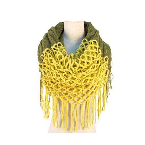 LEORX Mode Frauen Winter Warm Stricken Lange Schal Quasten Schal (Gelb)