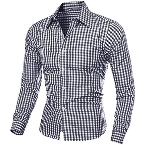 Camisa de los hombres, Amlaiworld blusa de manga larga Plaid (XXL, Negro)