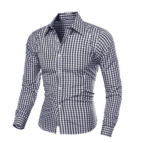 Camisa de los hombres, Amlaiworld blusa de manga larga Plaid (L, Negro)