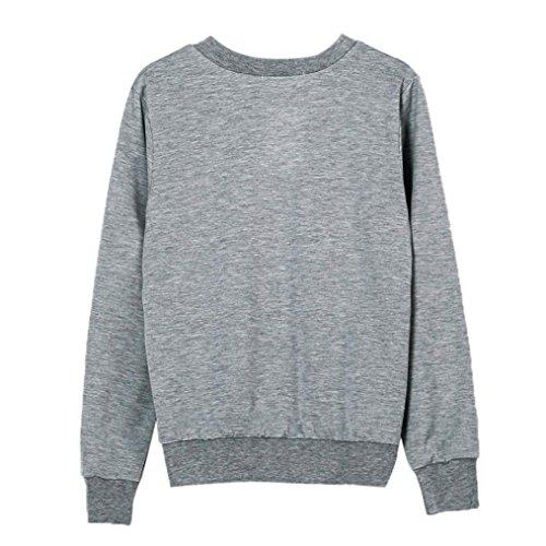 Sannysis Frauen Feder Druck Lange Hülsen Sweatshirt Pullover Top Bluse Grau  ...
