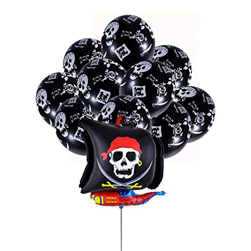 NUOBESTY 26pcs Piraten Party Ballons Piratenschiff Folienballons Schwarze Luftballons für Piraten Geburtstagsfeier Dekorationen begünstigt Piraten Party Supplies
