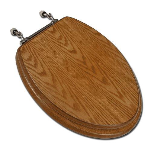 Comfort Seats C1B2E118CH Decorative Oak Wood Elongated Toilet Seat with Chrome Hinges, Dark Oak by Comfort Seats
