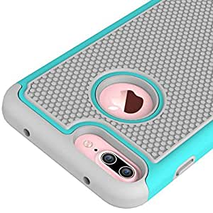 Prosper Dual Layer Hybrid Shockproof 3 in 1 Football Skin Cover Case for (Iphone 7 Plus, Turquoise)