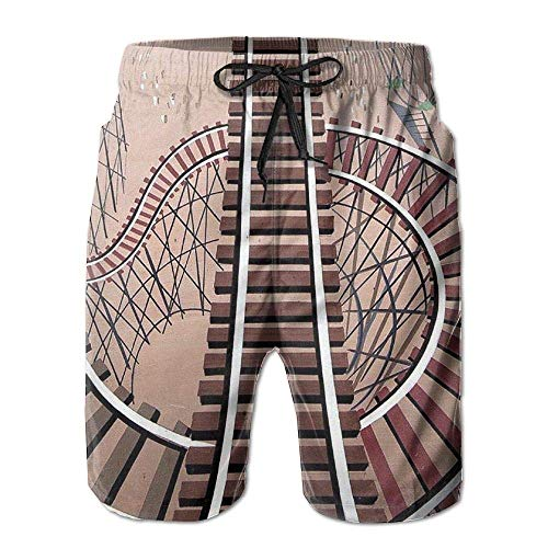 Roller Coaster Track Men's Beach Pants Swim Trunks Quick-Dry Board Shorts with Lining(XXL) Paris Coaster