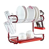 #8: HOME CUBE® 2 Tier Stainless Steel Dish Drainer Drying Rack House Kitchen Storage Organizer Tools Bowl Dishes Storage Holder Rack ( JC-1619 )
