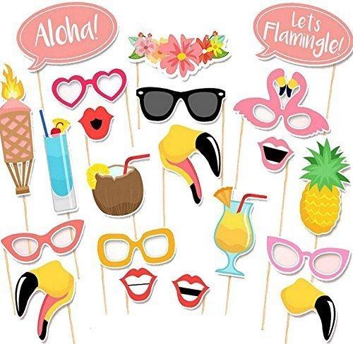 21 Fotorequisiten & Fotoaccessoires für witzige & lustige Bilder, Sommer-Strand-Serie Flamingo Lustige, Geburtstag oder jede andere (Flamingo Kostüm Diy:)