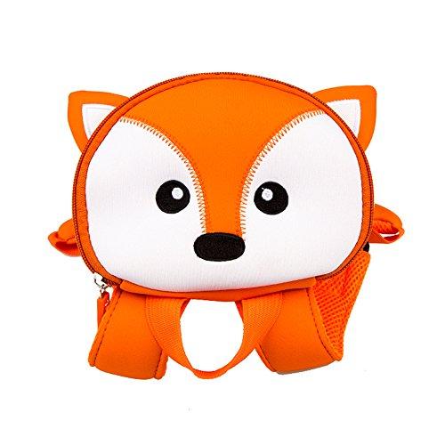 Kinder Cartoon Rucksack, Tier 3D Cartoon Sicherheit Anti-verlorene Gurt Rucksack mit Zügel Kindergarten Toddle Kinder Schultasche Zoo Lunch Bag (Fuchs) -