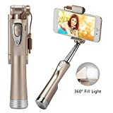 Bluetooth Selfie Stick Autoritratto Stick wireless monopiede allungabile a forma di U Supporto per telefono con otturatore remoto LED Fill Light Specchio posteriore regolabile per iPhone 7 / 6S / 6/6 (Gold)