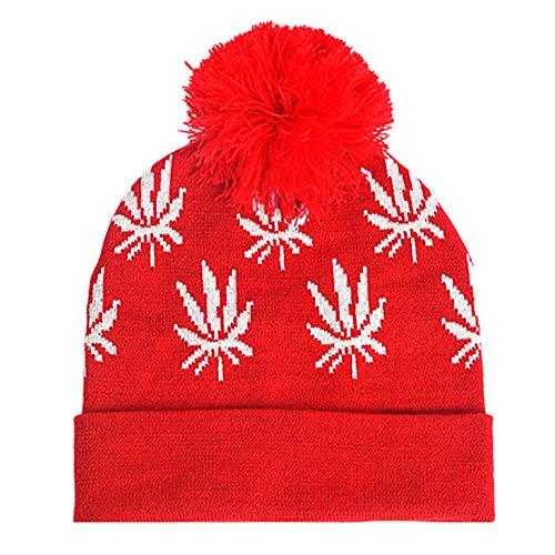 MIRRAY Damen Weihnachtsmütze Pompom Strickmützen Hairball Knitted Xmas Caps Winter Mütze Weihnachtsmützen (I, One size)