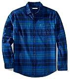 Essentiels Amazon Chemise Droite Manches Longues en Flanelle à Carreaux Homme - Blue (Bright Blue Plaid) - Medium