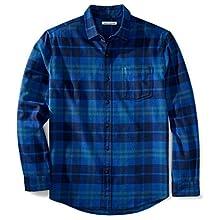 Amazon Essentials Regular-fit Long-Sleeve Flannel Shirt, Blue (Bright Blue Plaid)- S