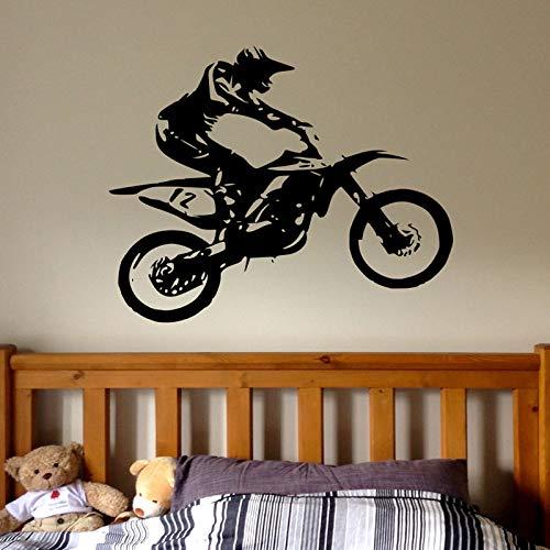 Tianpengyuanshuai Offroad Motorrad Wandtattoo Junge Offroad Bike Wandtattoo personalisierte Aufkleber Kinderzimmer Dekoration wasserdicht 93x75cm