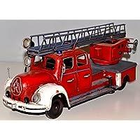 Magirus camion dei pompieri rosso per 1955 latta sanoni latta heliobil Tin Model Vintage Fire Truck circa 35 cm 37227