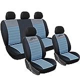 WOLTU AS7319 Set Completo di Coprisedili Auto Macchina Seat Cover Universali Protezione per Sedile di Poliestere Classici Nero-Grigio
